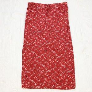 Vintage red sandal flip flop print maxi skirt L
